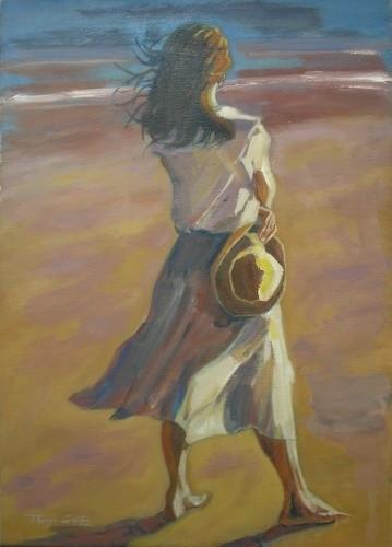 Resultado de imagem para pintura mulher na praia