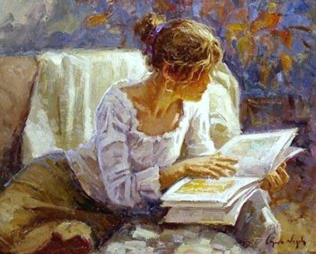Resultado de imagem para mulher lendo pintura em tela