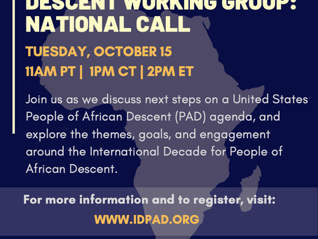 PAD Working Group National Call 10/15/2019