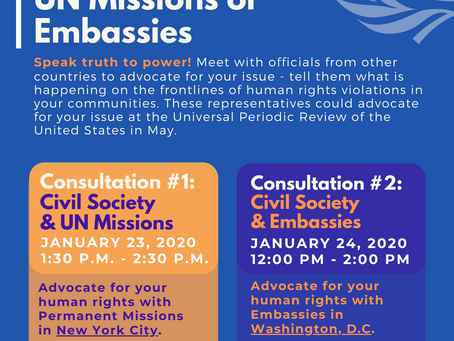 Consultations between Civil Society & UN Missions or Embassies