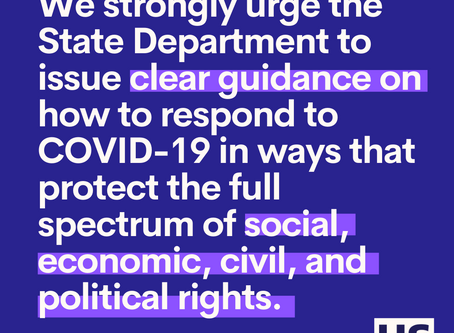 Letter to the Department of State: COVID-19 + Human Rights