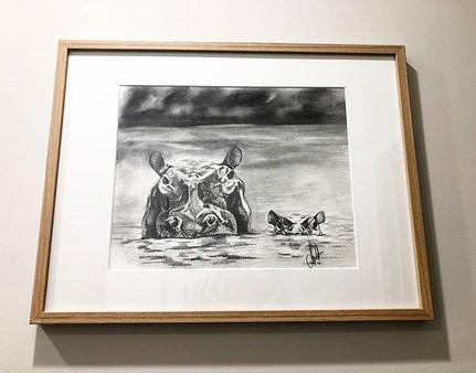 Hippopotamus and Baby Framed Orignal Artwork
