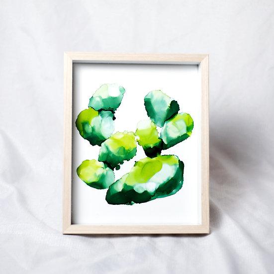 Chonky Boy Cactus - Framed Original Artwork
