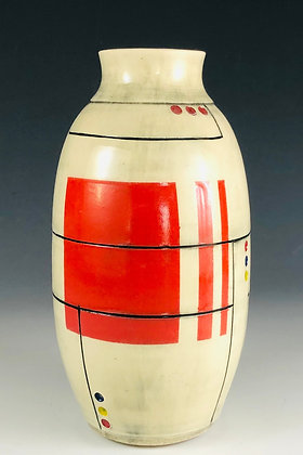 Red Oval Bud Vase