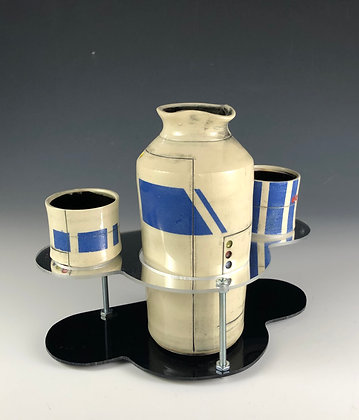 Blue Shuttle Sake Set with base