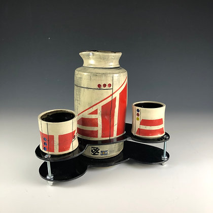 Red Shuttle Sake Set with base