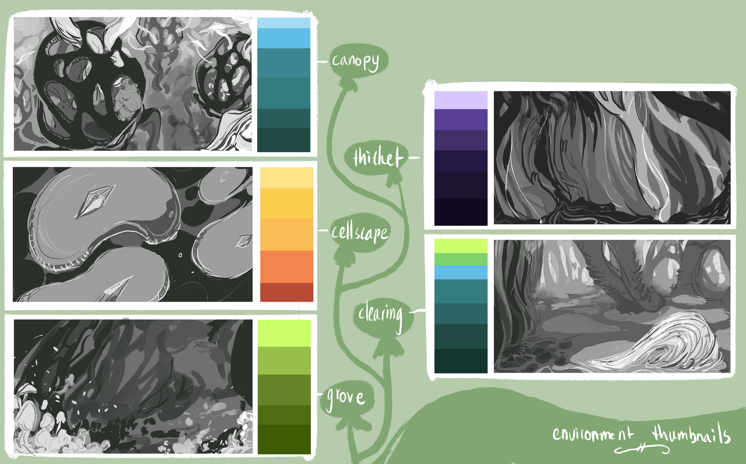 FRAGILE: environment thumbs & palettes