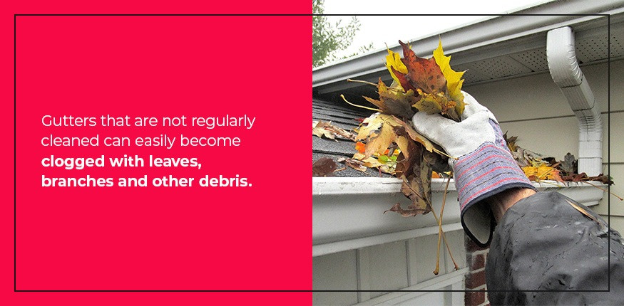 Gutters can easily become clogged with leaves.