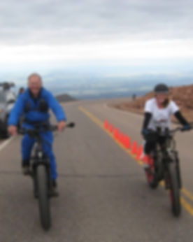 Rocke Mountan Bike first and second place riders in first e-bike race to top of Pikes Peak