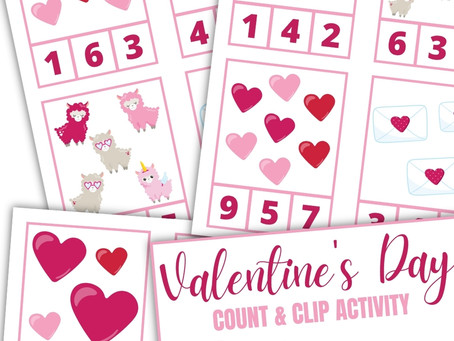 Valentine's Count and Clip Activities for Kids
