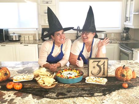 Spooky Pulled Chicken Dip & Jack-O-Lantern Quesadillas