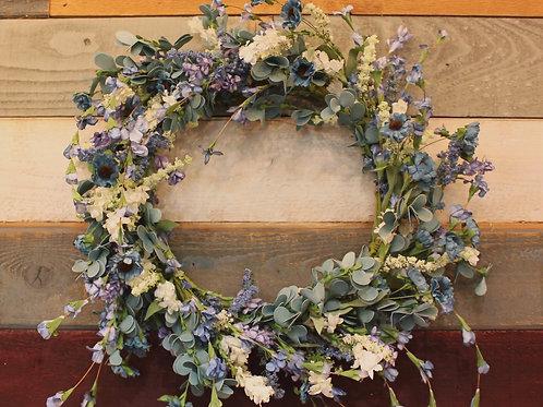 """17"""" Floral Wreath Blue/White/Eucalyptus"""