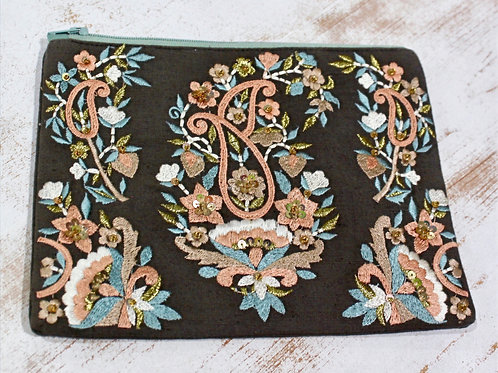 Pastel Paisley Cosmetic Bag Black