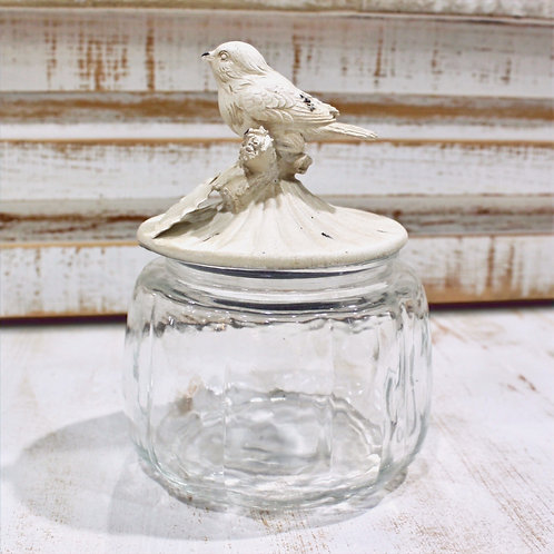 "7"" Glass Jar With Antique White Bird Lid"