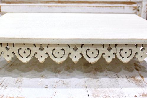 Distressed White Ornate Riser Lrg