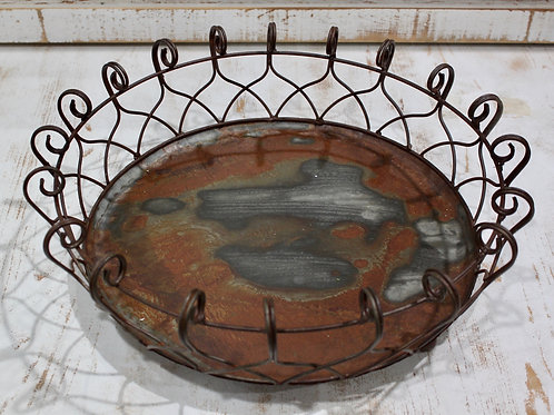 "16"" Distressed Iron Basket"