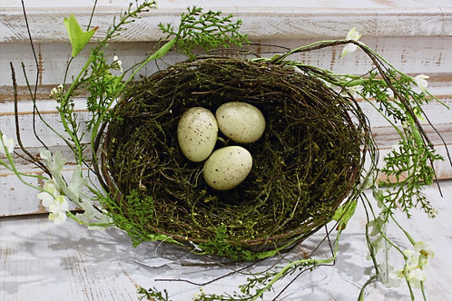 Nest With Greenery and 3 Eggs