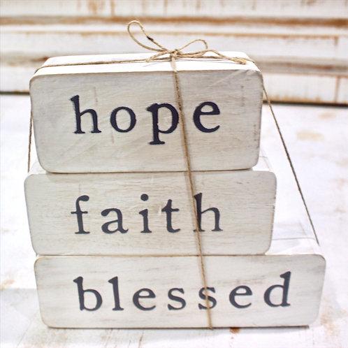 Hope, Faith, Blessed Tabletop Blocks
