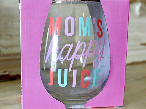 Mom's Happy Juice Stemless Wineglass