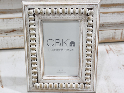 Whitewash Beaded Picture Frame