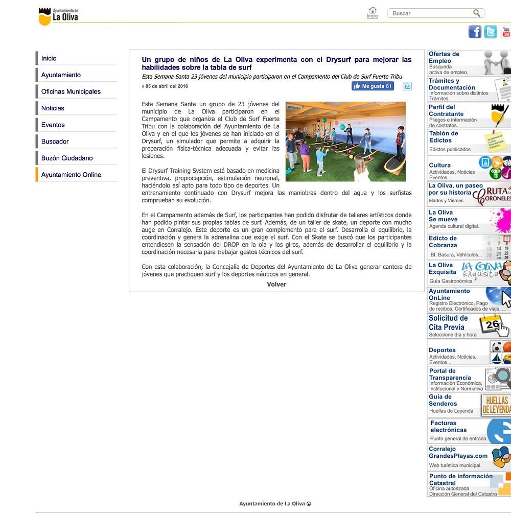 Noticias, ayuntamiento de la Oliva, niños entrenando con Drysurf Funcional Balance
