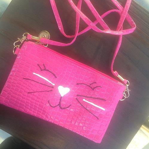 Pink Cat Clutch Purse