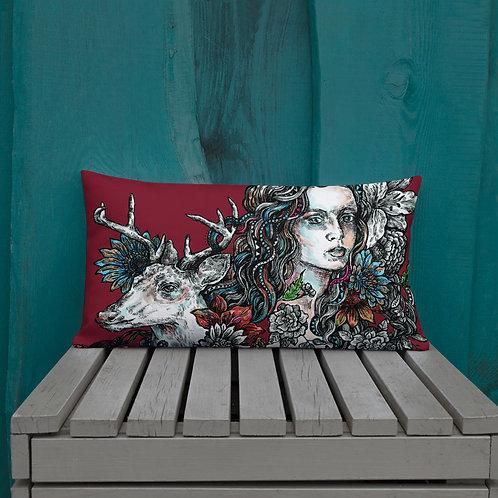 Deer Girl_Premium Pillow
