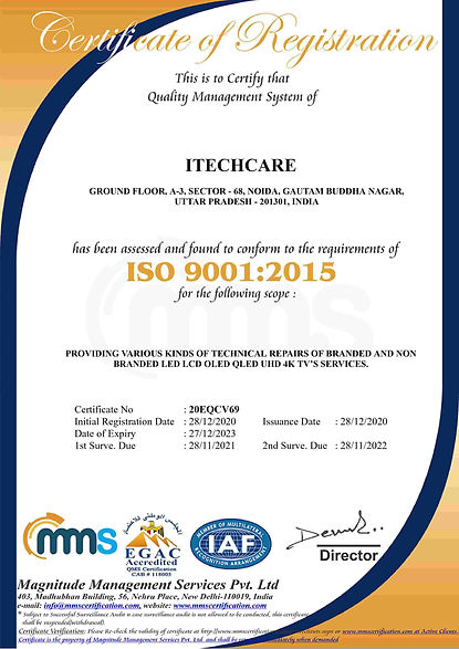 ISO 9001 Certification Sample