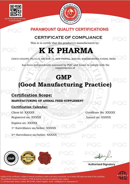 GMP Certification Sample