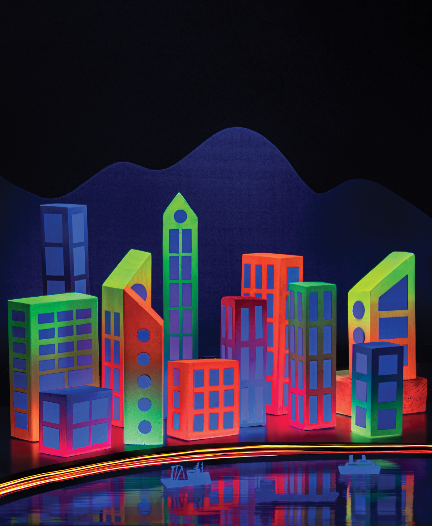 This is the neon city blockitecture we did as the intial idea for the cover.