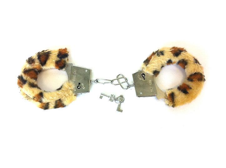 Leopard Print Handcuffs & Keys