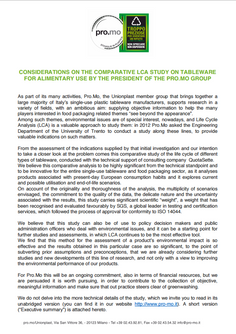 Position Paper: Considerations on the comparative LCA study on tableware for alimentary use.