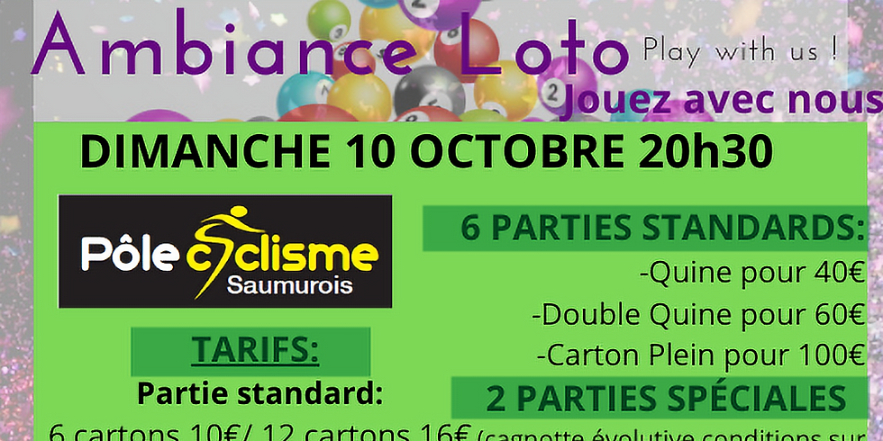 Loto Pôle Cyclisme Saumurois dimanche 10 octobre 20h30