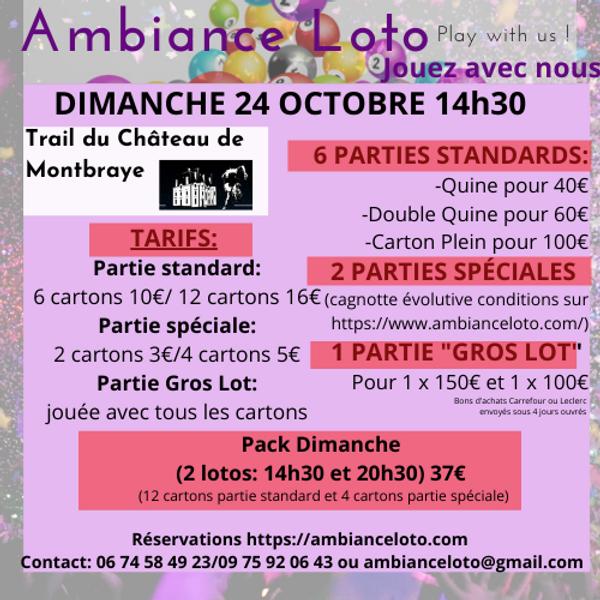 Loto Trail du Château de Montbraye  dimanche 24 octobre 14h30