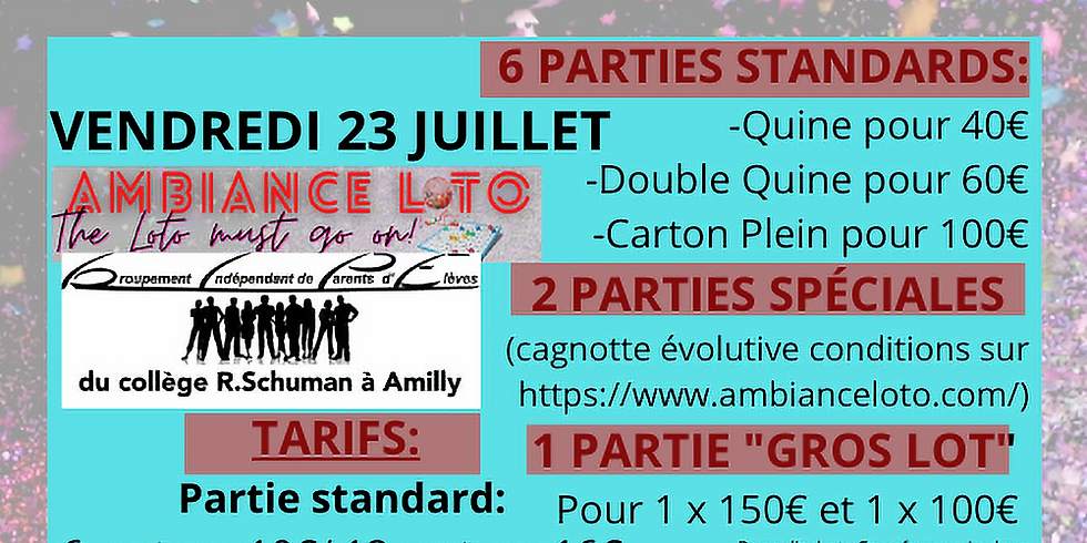 Loto Groupement Indépendant des Parents d'Elèves (23 juillet)