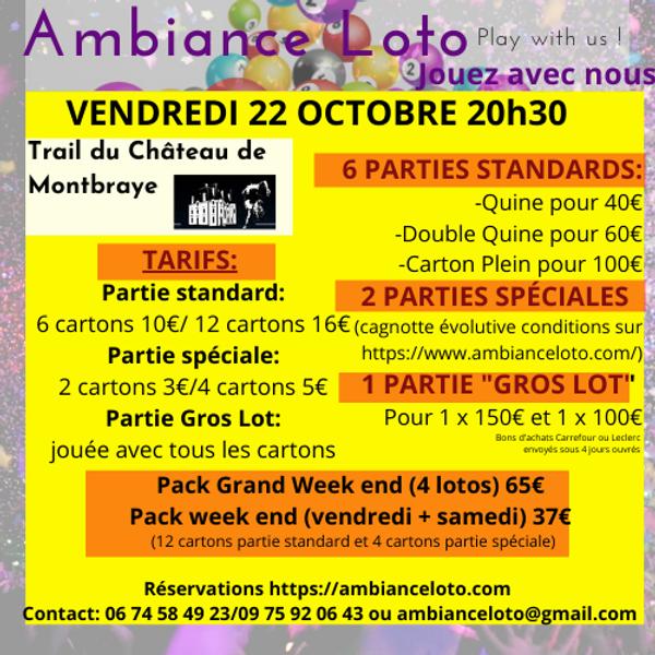 Loto Trail du Château de Montbraye vendredi 22 octobre 20h30