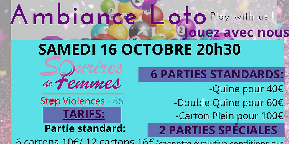 Loto Sourires de femmes STOP VIOLENCE 86  samedi 16 octobre 20h30