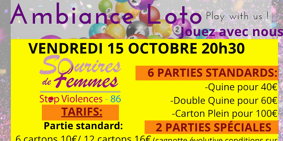 Loto Sourires de femmes STOP VIOLENCE 86 vendredi 15 octobre 20h30