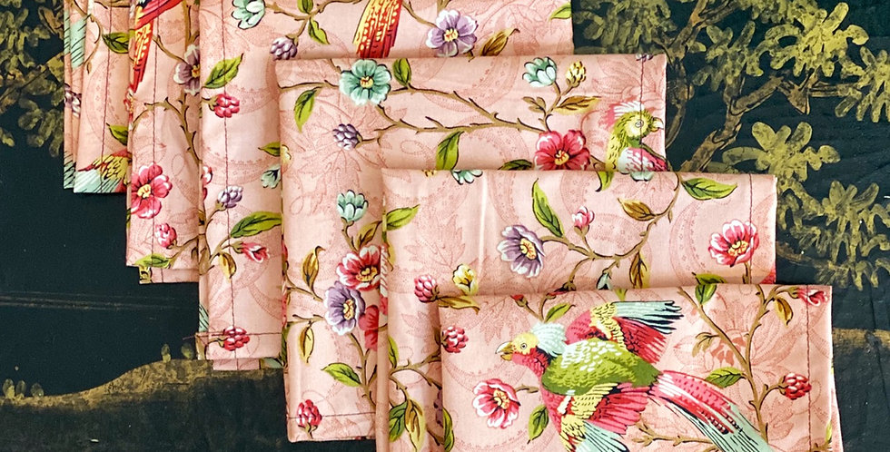 6 servilletas pájaros rosas