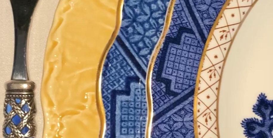 6 Bajoplatos parra  color ocre, cerámica portuguesa