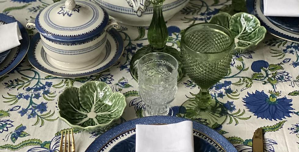 Mantel algodón azul y verde 3,40 x 1,80 cm