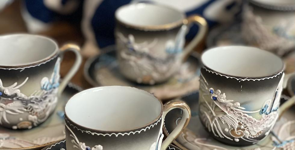 8 tazas café, porcelana oriental