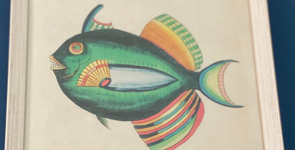 Litografía pez con marco de madera , edición limitada