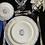 """Thumbnail: Plato llano, cerámica de Gien,  con borde azul, monograma """"C""""  , 26 cm"""