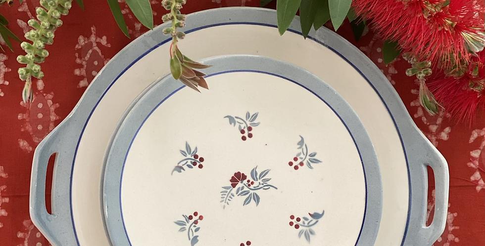 9 platos vintage de merienda con bandeja