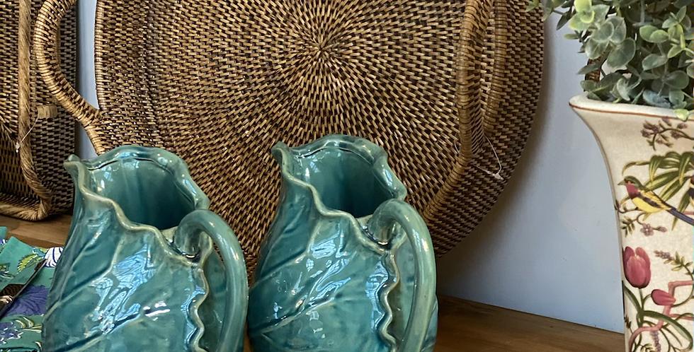 6 platos pan tela de ratan , base metálica