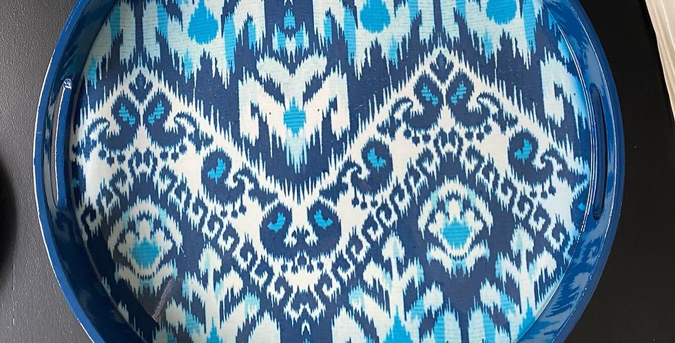 Bandeja Ikat 42 cm lacada azul