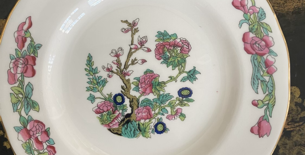6 platos de té 16, 5 cm motivos orientales, porcelana inglesa