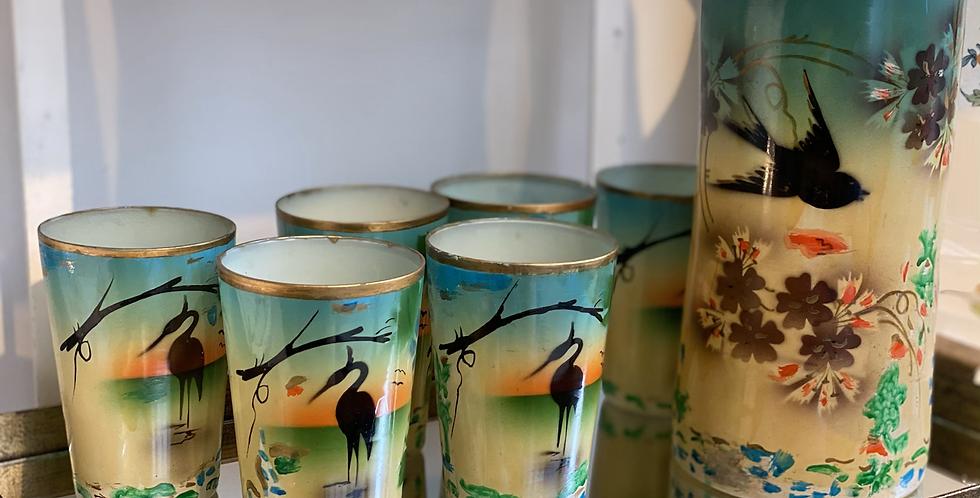Juego de 6 vasos con jarra Vintage , pintado a mano