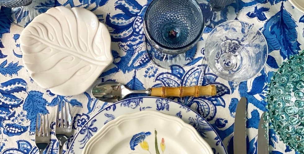 Mantel algodón azul  2,70 cm x 1,80 cm